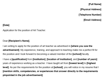 Art Teacher Cover Letter Template Download