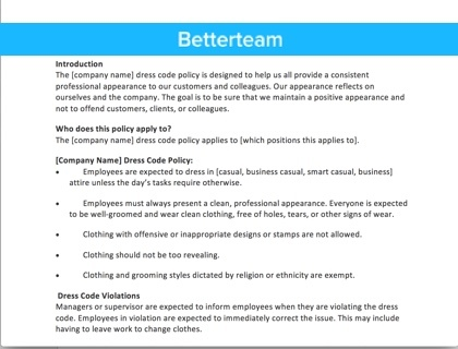 Attendance policy sample template and overview for Company email policy template