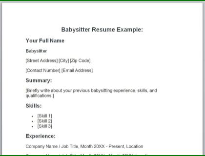 Babysitter Resume Template