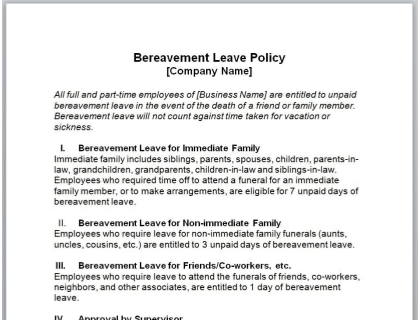 Bereavement Leave Policy Template