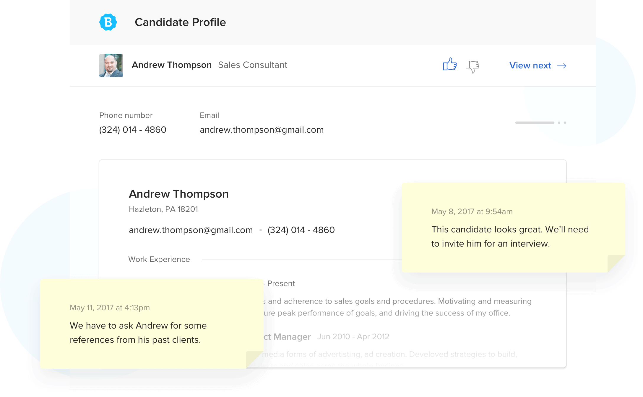 Betterteam Candidate Profile Screenshot