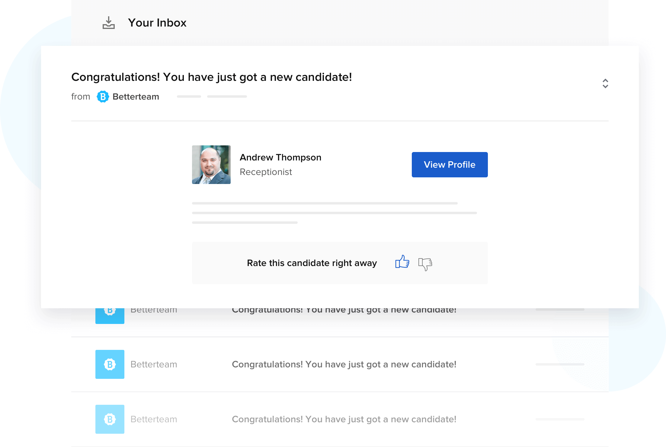 Betterteam Email Notification Screenshot
