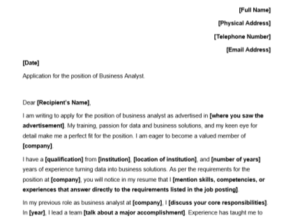 Business Analyst Cover Letter Template Download
