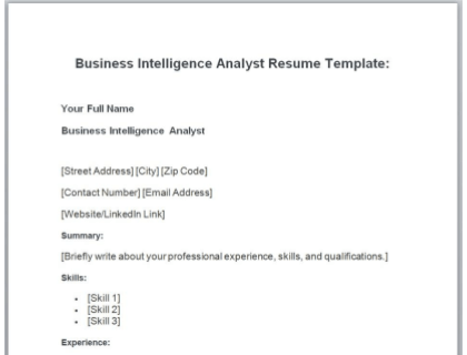 Business Intelligence Analyst Resume Free Template