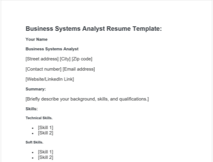 Business Systems Analyst Resume Free Template