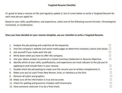 Targeted Resume Checklist