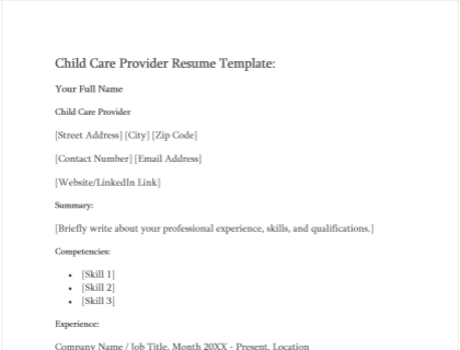 Child Care Provider Resume Free Template