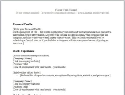 Chronological CV Template