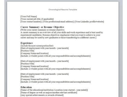 Complete Guide On How To Write A Chronological Resume