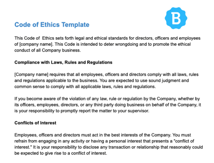 Code Of Ethics Template Download