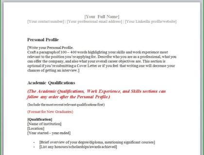 Combination/Hybrid CV Template