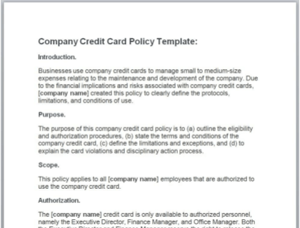 Company Credit Card Policy Free Template