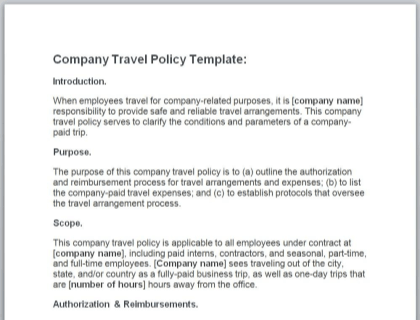 Company Travel Policy Template