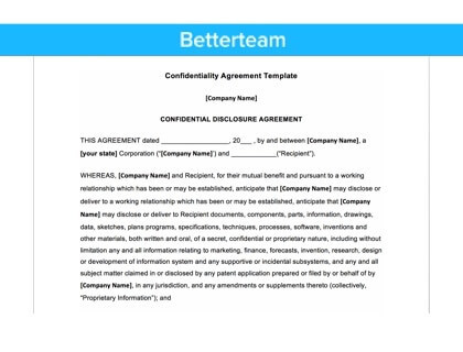 Confidentiality Agreement Template:  Confidentiality Agreement Free Template