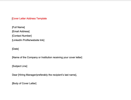 Cover Letter Address Template
