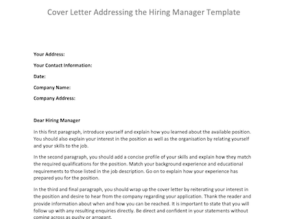 Cover Letter Addressing Hiring Manager