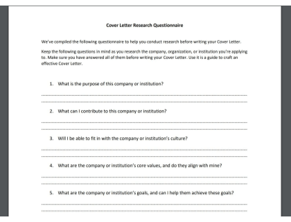Cover Letter Research Questionnaire
