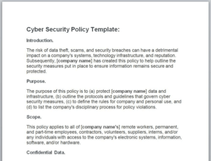 Cyber Security Policy Free Template