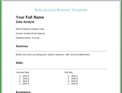 Data Analyst Resume Free Template