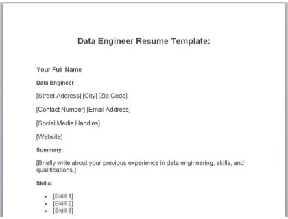 Data Engineer Resume Free Template