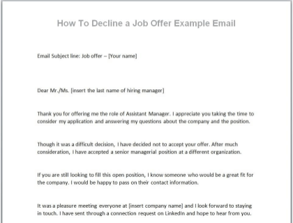 Decline Job Offer Email Template