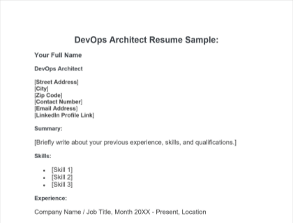 Devops Architect Resume Guide Template