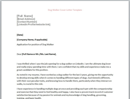Dog Walker Cover Letter Template