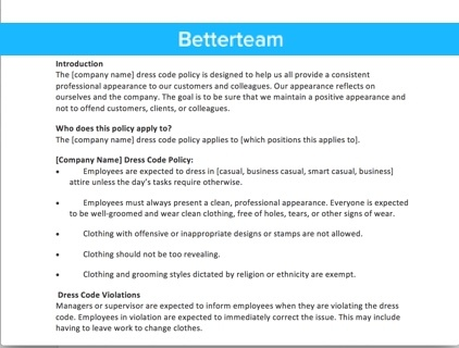 download a dress code policy template