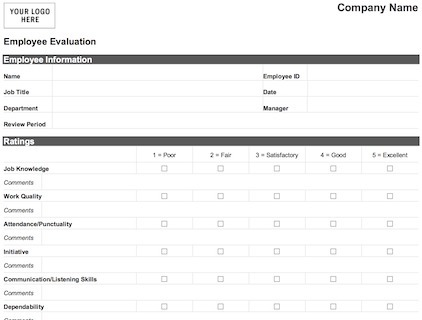 image about Employee Review Forms Free Printable known as Uncomplicated Worker Examination Type: Term+ PDF - Print + Down load
