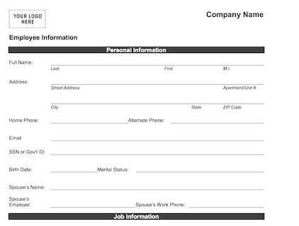 Employee Information Form  Download Or Print  WordPdf