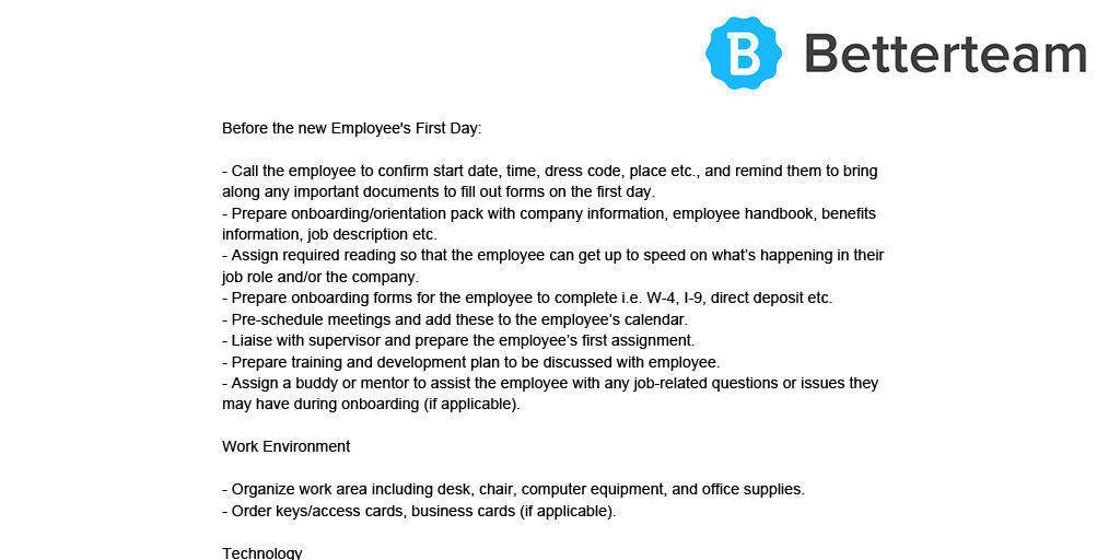 employee onboarding process  free template