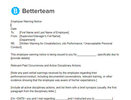 Employee Warning Letter Template from www.betterteam.com