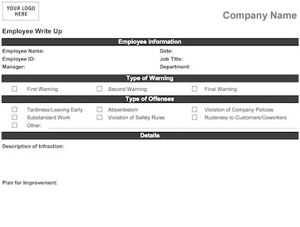 image about Printable Employee Write Up Form identified as Personnel Compose Up Variety - Downloadable - Printable [Phrase+PDF]