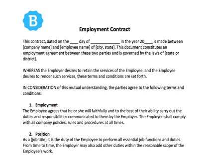 Employee Contract Template Free Download