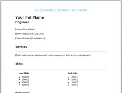 Engineering Resume Free Template