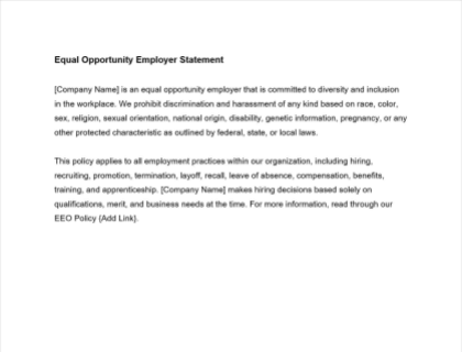 Equal Opportunity Employer Statement Download