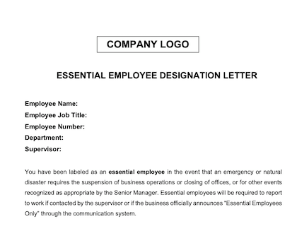 Essential Employee Letter