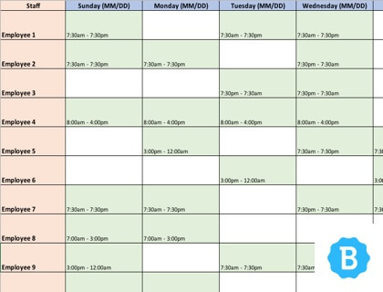 Schedule Template | Employee Schedule Template Free Instant Downloads