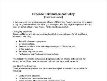 Expense Reimbursement Policy Free Template