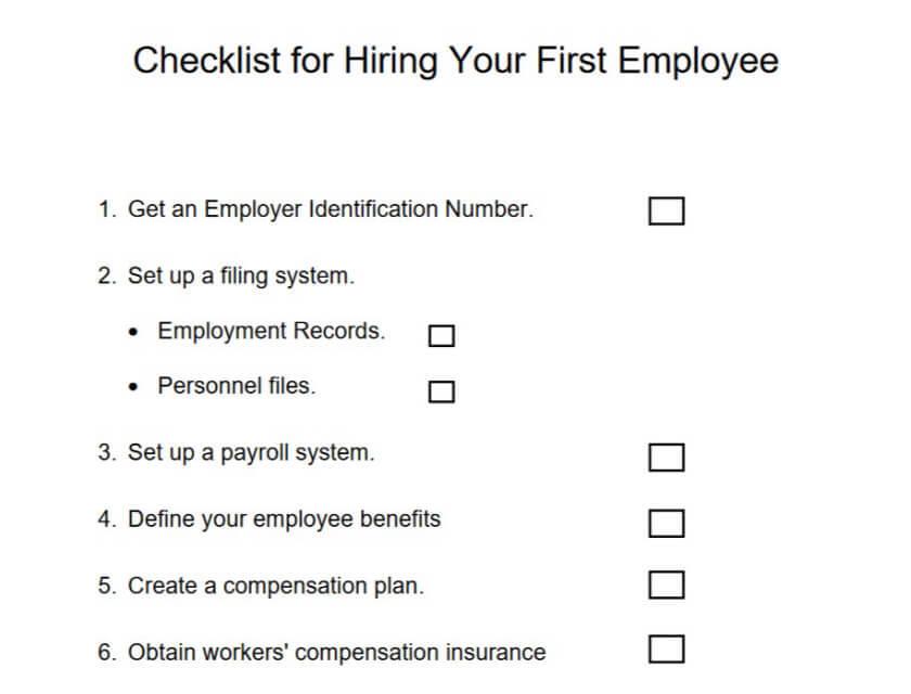 First Hire Checklist
