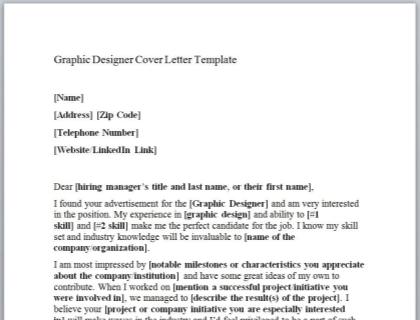 Graphic Designer Cover Letter Template