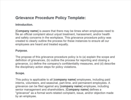 Grievance Procedure Policy Free Template