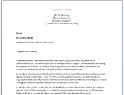Hair Stylist Cover Letter Template