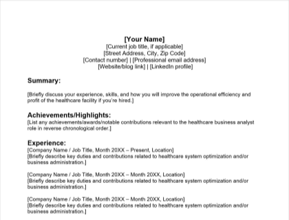 Healthcare Business Analyst Resume Free Template