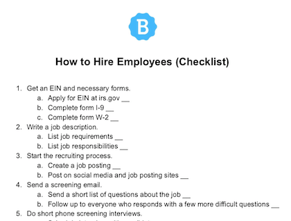 How To Hire Employees Checklist Download