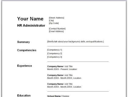 HR Administrator Resume Free Template