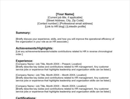 HR Associate Resume Free Template