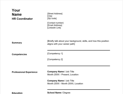 HR Coordinator Resume Free Template