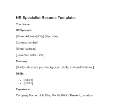 HR Specialist Resume Free Template