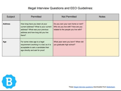 Illegal Interview Questions - What Not to Ask Candidates